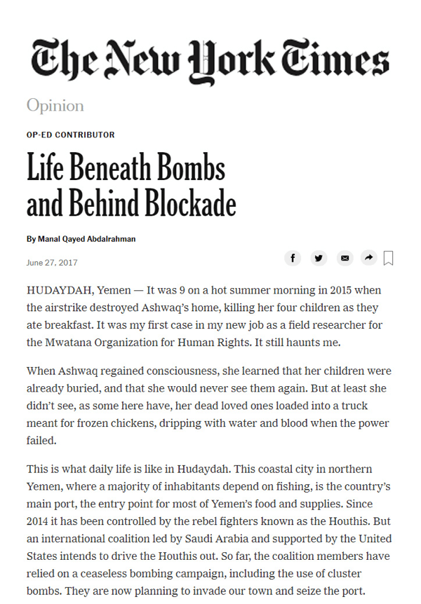 'Life Beneath Bombs and Behind Blockade' article in The New York Times