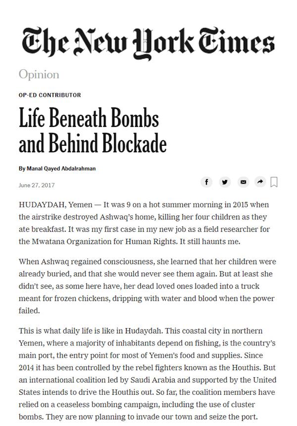 « La vie sous les bombes et sous le blocus » - Article du New York Times
