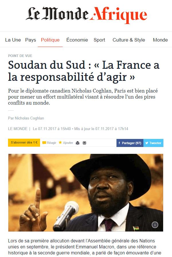 Tribune sur le Soudan du Sud dans Le Monde