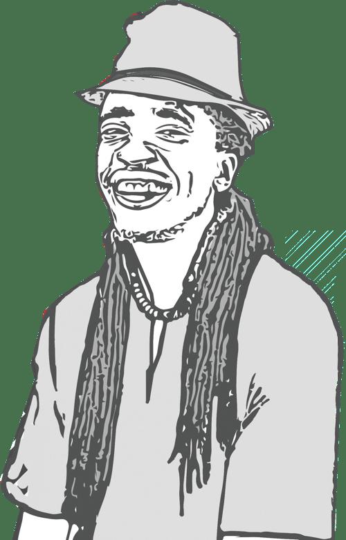 An illustration of Manasseh Mathiang
