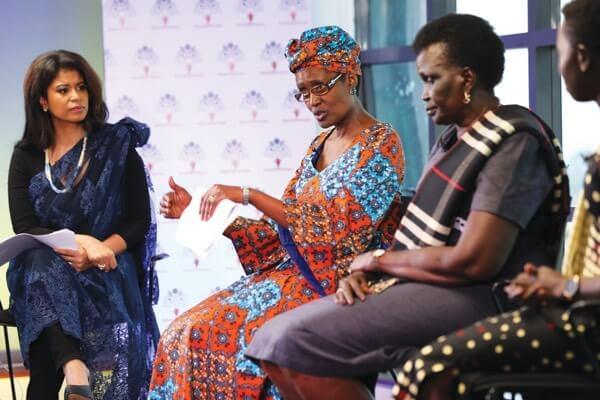Julie Gichuru, Winnie Byanyima, Mama Rebecca Garang and Emmily Koiti at the SawaSouthSudan Summit