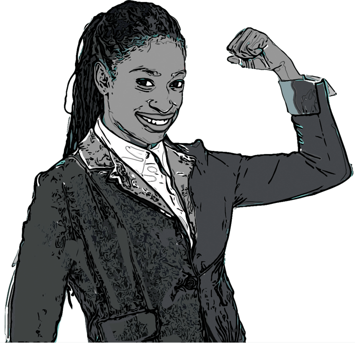 An illustration of a woman with fist raised and clenched