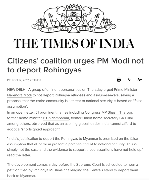 Myanmar article in The Times of India