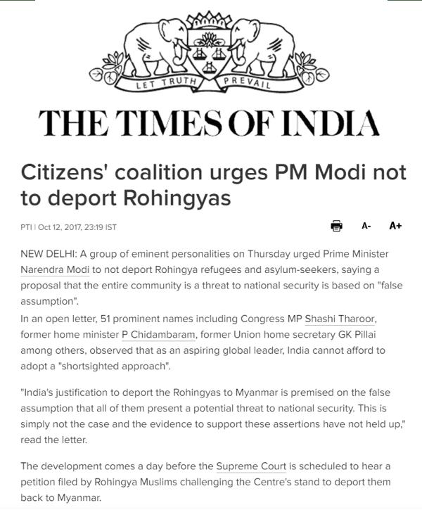 Article sur la Birmanie dans le Times of India