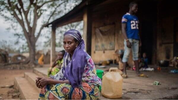 A Fulani woman sits at Elevache camp for internally-displaced people in Bambari, Central African Republic