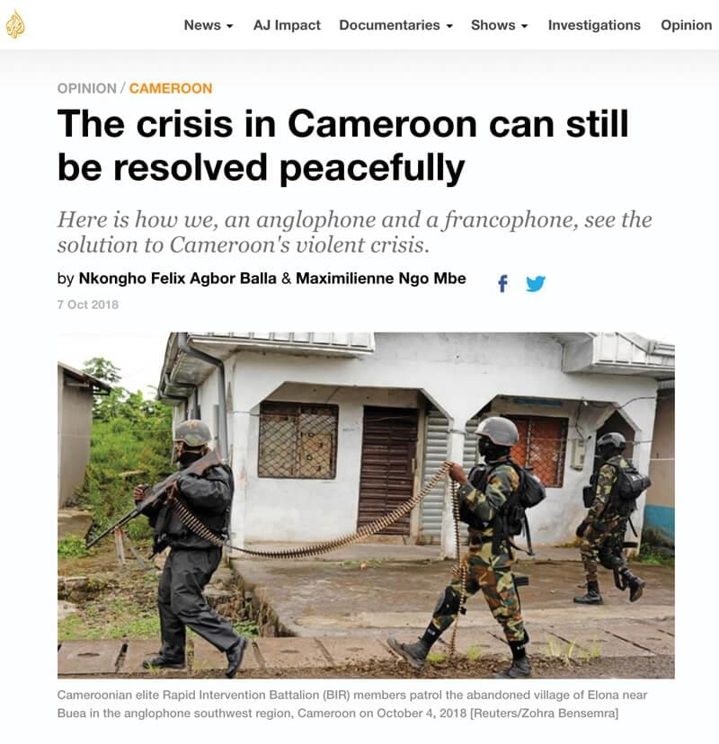 Un article par des personnalités camerounaises francophones et anglophones de haut niveau appelant les deux parties à engager des pourparlers de paix, coordonné par Crisis Action