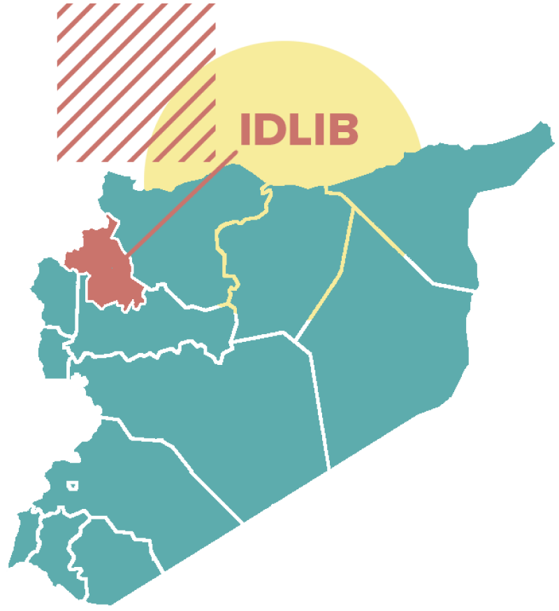 Map of Syria showing the location of Idlib