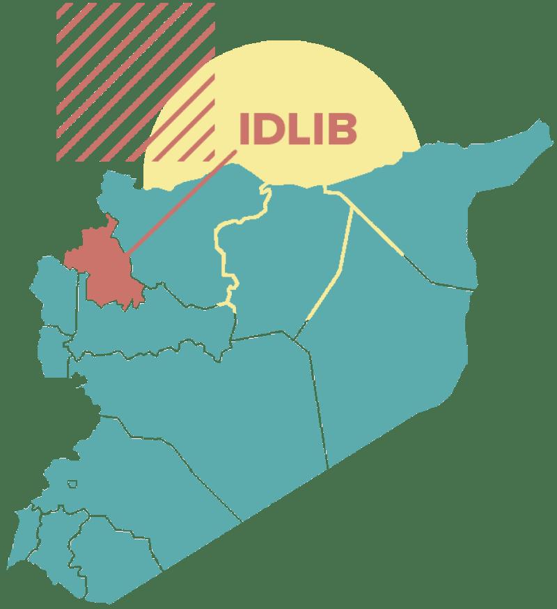 Carte de la Syrie indiquant la localisation d'Idlib