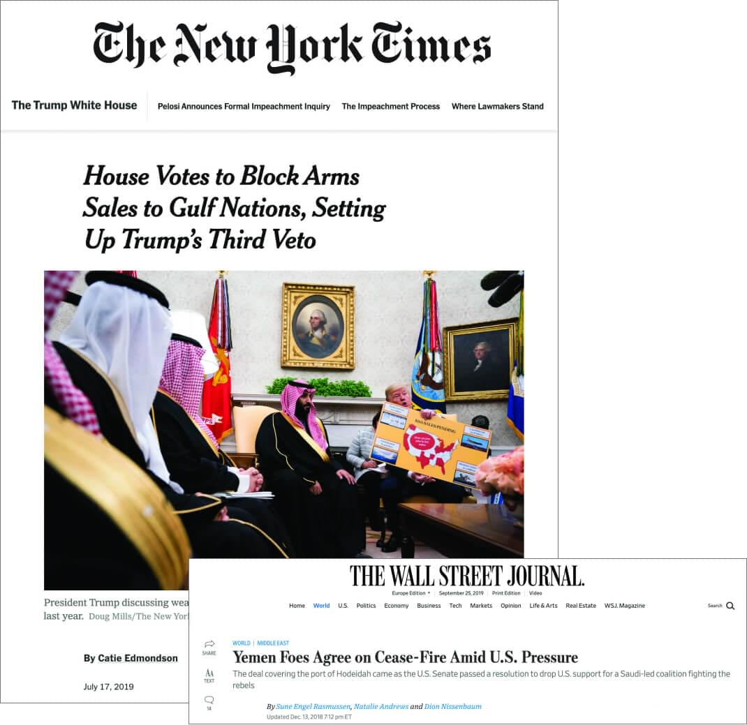 Yemen articles in The New York Times and Wall Street Journal